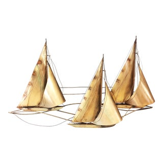 Mid Century Modern Gold Curtis Jere Signed Sailboat Wall Art