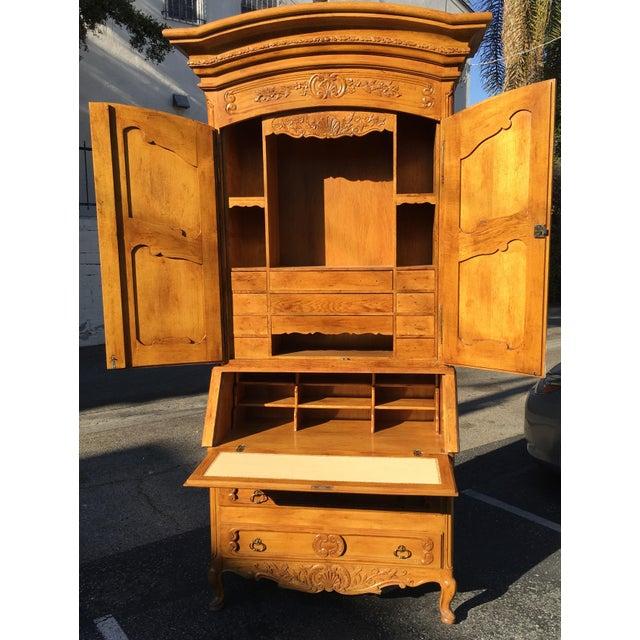 Antique French Provincial Secretary Slant Front Desk Bookcase W Lion Pulls For Sale - Image 4 of 6