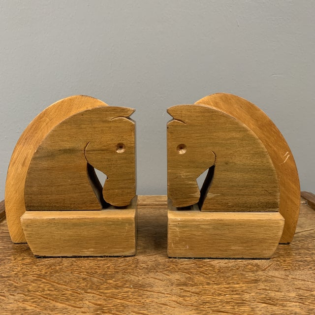 Mid 20th Century Vintage Hard Carved Horse Bookends - a Pair For Sale - Image 5 of 5