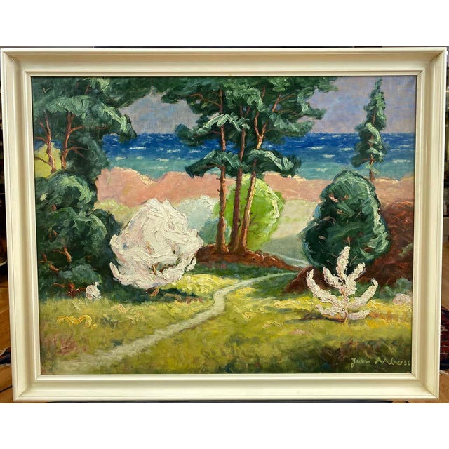 A 1956 impressionist oil painting of a coastal pathway by Jens Aabo, who was born in 1898 on the small Danish island of...