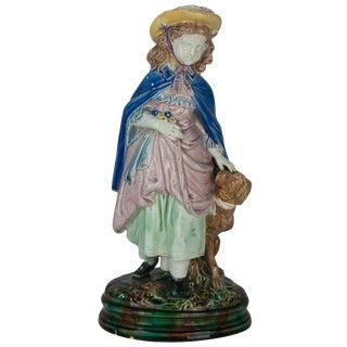 Majolica Holdcroft Little Girl and Dog Figurine For Sale