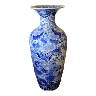 19tth Century Imari Blue and White Japanese Porcelain Large Decorative Vase