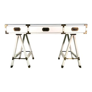 Vintage Campaign Style Sawhorse Base Desk in White For Sale