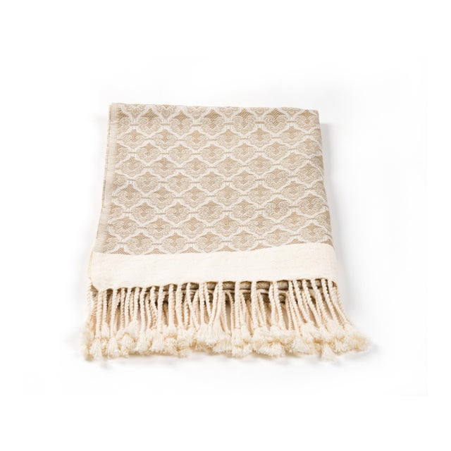 Mute Eloquence Handmade Organic Cotton Towel in Beige For Sale - Image 6 of 8