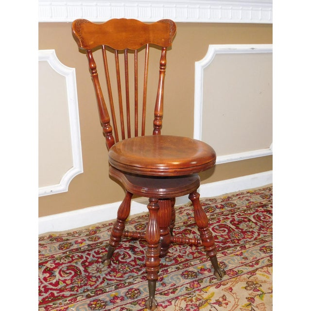 Antique Maple & Walnut Victorian Era Windsor Piano Chair Stool c1900 For Sale - Image 9 of 9