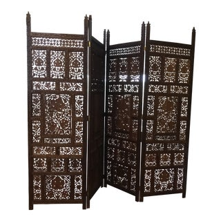Vintage Solid Teak Room Divider All Hand Carved 4 Panel For Sale