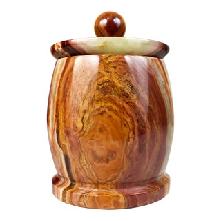 Hand Carved Polished Natural Onyx Stone Storage Jar Canister For Sale