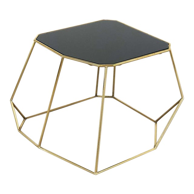 Vintage Domus Collection Customizable Coffee Table in Brass and Crystal Glass For Sale