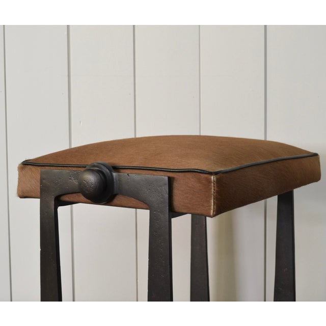Metal Modernist Iron and Leather Hair on Hide Stool For Sale - Image 7 of 8