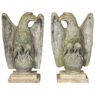 Vintage Cast Stone Eagles - A Pair