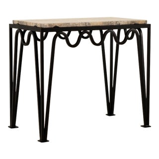Méandre' Black Iron and Silver Travertine Side Table by Design Frères For Sale