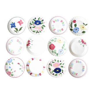 1940s Southern Pottery Blue Ridge MIX Match Floral Ironstone Dinner or Luncheon Plates - Set of 12 For Sale