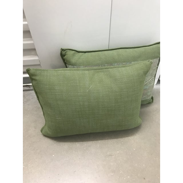 Classic inspired Green Fortuny pillows with green Linen background