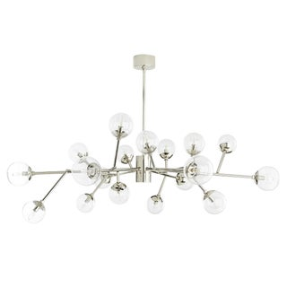 Arteriors Mid-Century Modern Style Polished Nickel and Glass Medium Dallas Chandelier For Sale