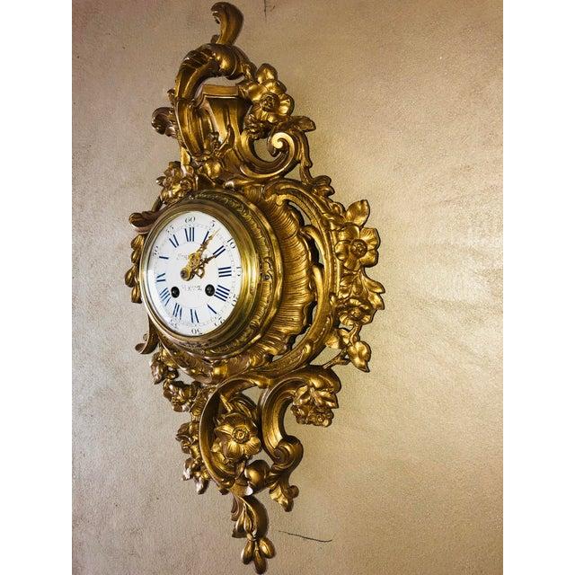 Mid 19th Century 19th Century Louis XV Bronze Ormolu Cartel Clock For Sale - Image 5 of 12