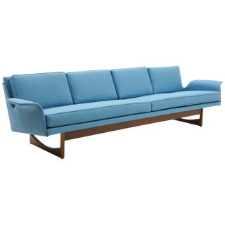 Four-Seat Sofa Possibly Danish Modern or Adrian Pearsall, Beautiful Blue Fabric For Sale
