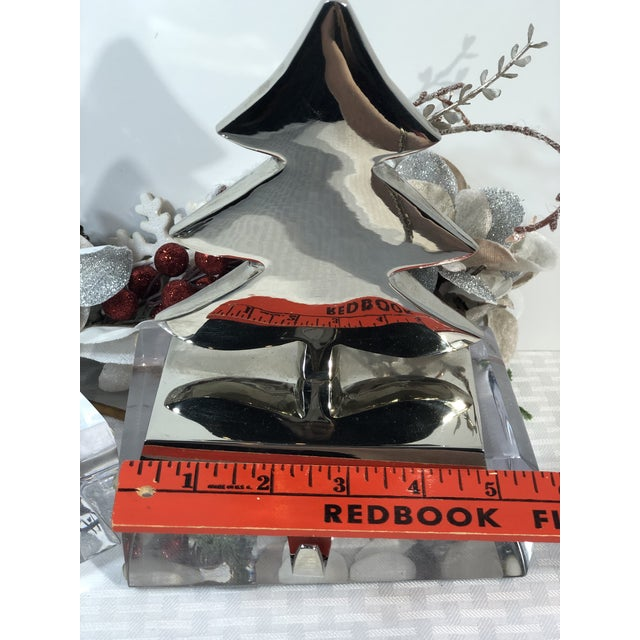 Vintage Silver Stocking Hooks Pottery Barn Hangers Snowman and Tree - Set of 2 For Sale - Image 9 of 13