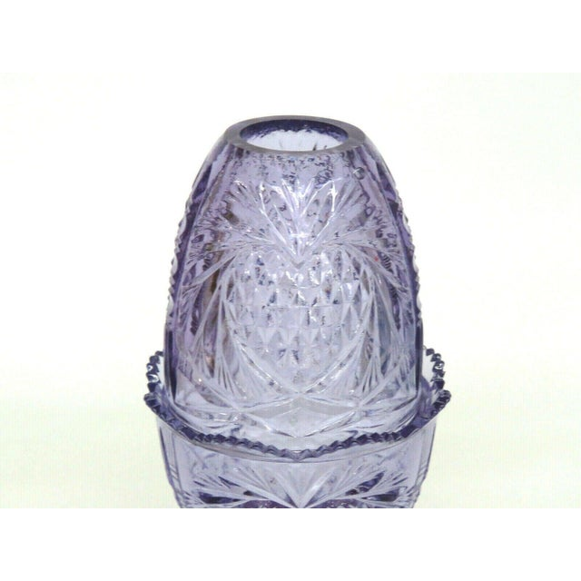 Glass Fenton Wisteria New Heart Purple Glass Two Piece Fairy Lamp Candle Holder For Sale - Image 7 of 11