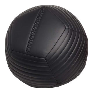 Banded Ottoman in Black Leather by Moses Nadel For Sale