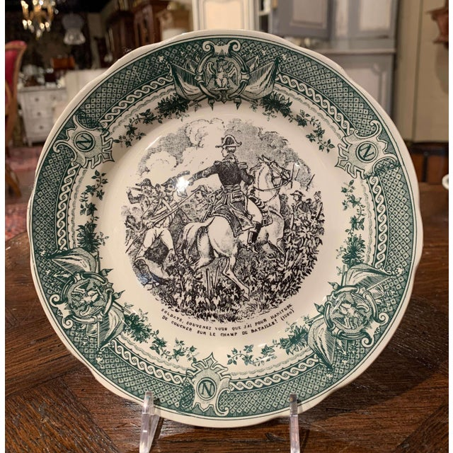 19th Century French Painted Napoleonic Sarreguemines Ceramic Plates-Set of 9 For Sale - Image 10 of 13