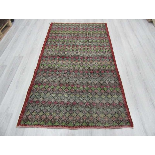 Art Deco Vintage Turkish Art Deco Hand-Knotted Rug - 4′2″ × 7′4″ For Sale - Image 3 of 6