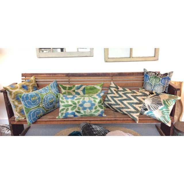 Blue And Green Silk And Velvet Ikat Pillow - Image 5 of 5