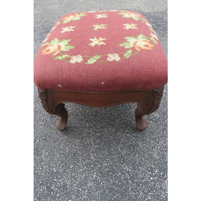 French Carved Needlepoint Tapestry Small Ottoman Footstool Bench For Sale - Image 4 of 13