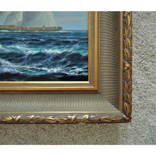 Mid 20th Century Vintage Mid-Century J. Gloguen Large Sailing Ship Schooner Nautical Signed Oil Painting For Sale - Image 5 of 7