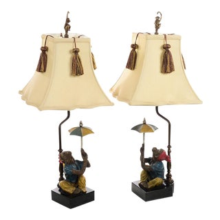 Vintage Monkey Holding Umbrella Lamps - A Pair