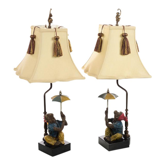Vintage Monkey Holding Umbrella Lamps - A Pair For Sale