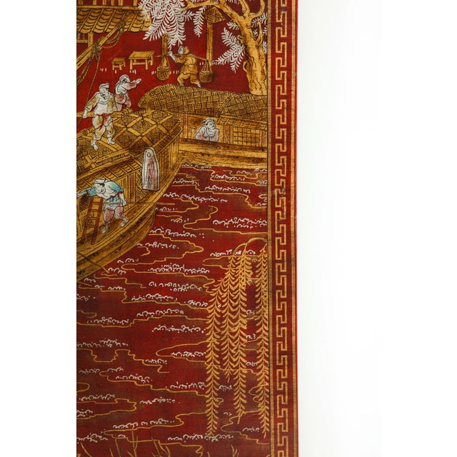 Red Lacquered Chinoiserie Panels - Set of 6 For Sale - Image 4 of 13