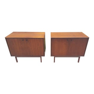 Milo Baughman for Arch Gordon Walnut Cabinets - A Pair For Sale