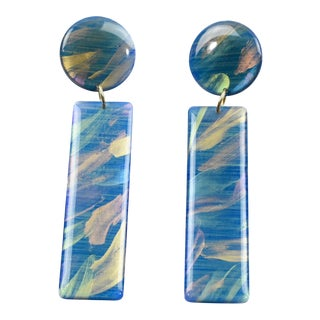Italian Studio Dangling Lucite Pierced Earrings Turquoise Marble Long Stick For Sale