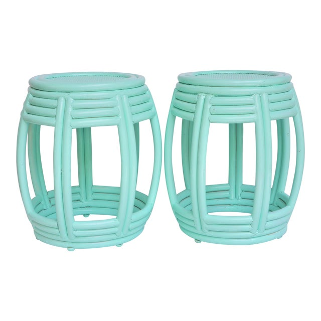 Handwoven Rattan Painted Barrel Tables / Stools - a Pair For Sale