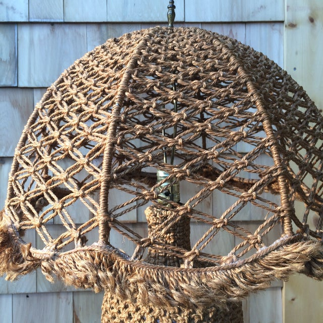 Woven Organic Fiber Table Lamp For Sale - Image 4 of 4