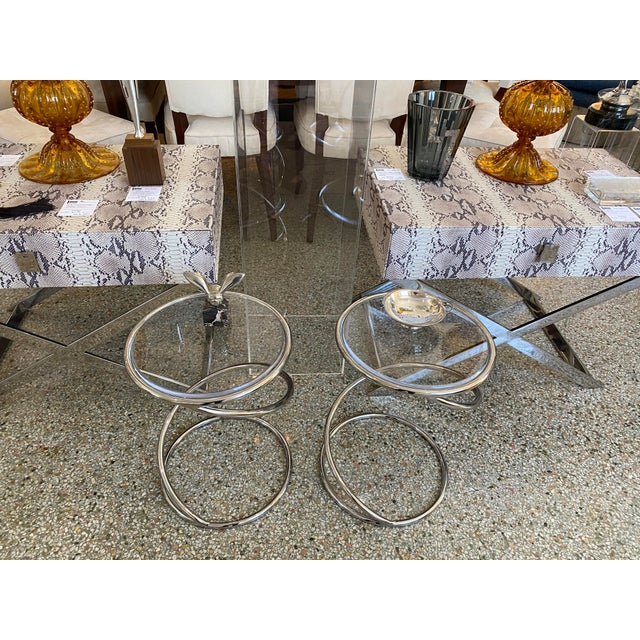 """Vintage Leon Rosen for Pace """"Spring"""" Coil Tables, Side or Drink, Nickel Plated With Lucite Tops - a Pair For Sale - Image 12 of 12"""