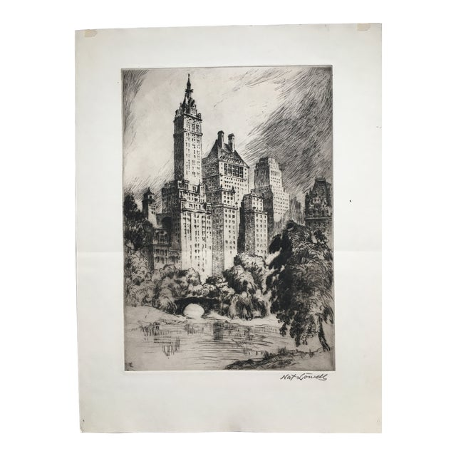 """1940's New York Etching """"Central Park"""" by Nat Lowell For Sale"""