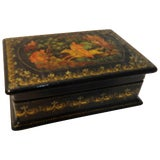 Image of Vintage Hand-Painted Russian Lacquer Box With Fairies For Sale