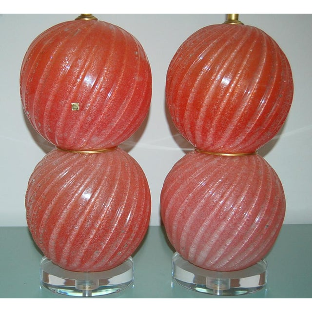 Murano Vintage Murano Pulegoso Glass Ball Table Lamps Melon For Sale - Image 4 of 8