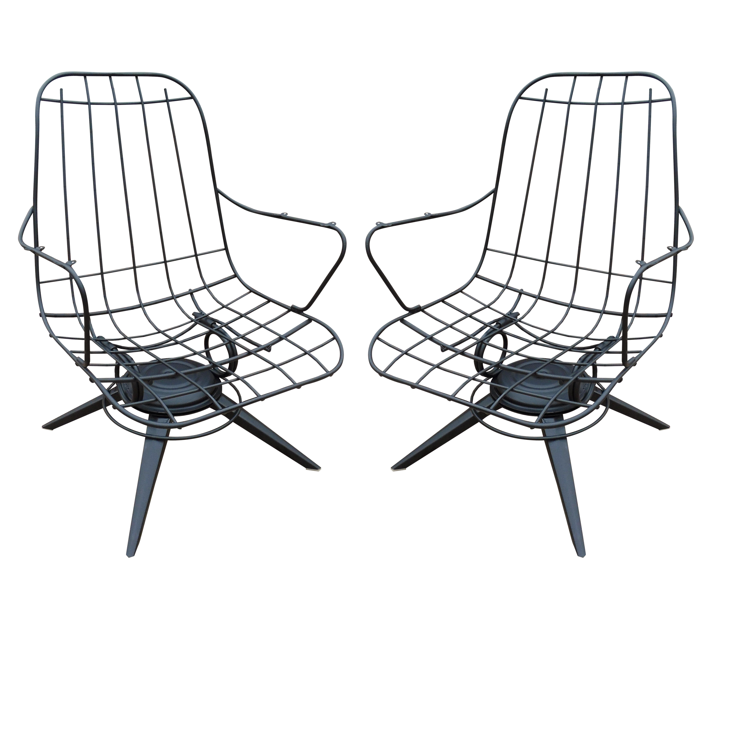 Completely new Homecrest Mid-Century Wire Lounge Chairs - A Pair | Chairish GR16