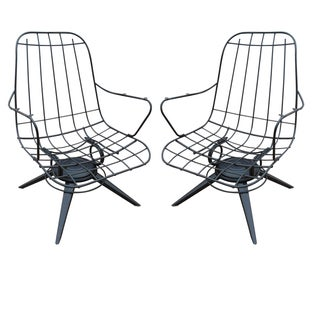 Homecrest Mid-Century Wire Lounge Chairs - A Pair For Sale