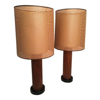 Mid-Century Danish Modern Teak Table Lamps & Double Woven Shades - a Pair For Sale