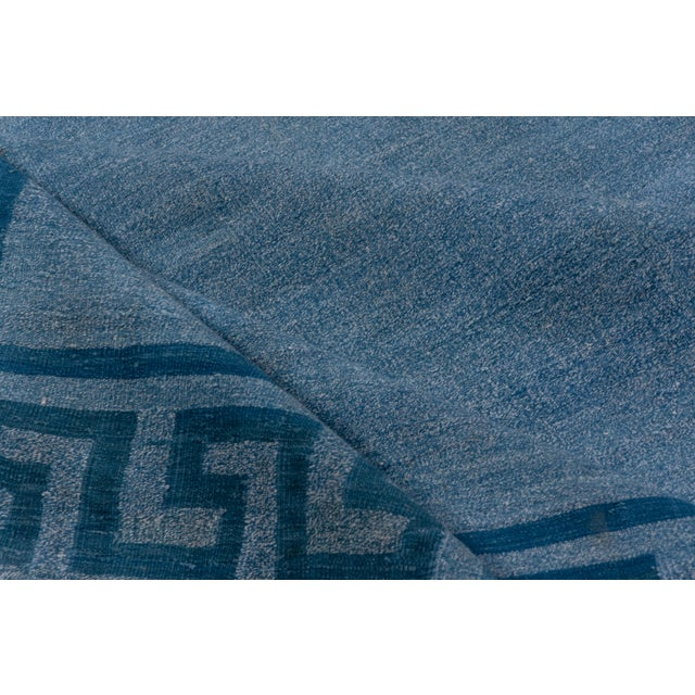 Contemporary 1960s Vintage Indian Dhurrie Blue Rug For Sale - Image 3 of 8