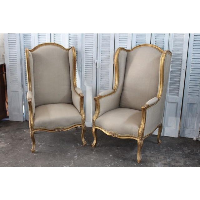 Louis Xv Style Wingback Bergères Chairs - a Pair For Sale - Image 11 of 11