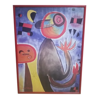 Vintage 1980s Joan Miro Museum Poster in Red Lacquer Frame For Sale