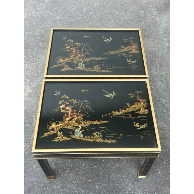 Asian Drexel Sketchbook Chinoiserie Style Black and Gold Lacquer End Tables - a Pair For Sale - Image 3 of 10