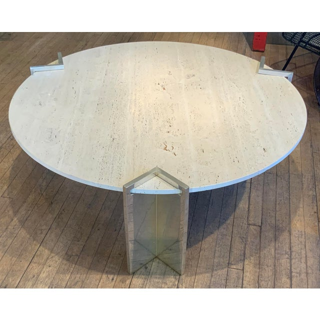 Metal 1970s Travertine and Steel Cocktail Table by Pace Collection For Sale - Image 7 of 8