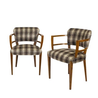 1920s Pair of Bridge or Desk Armchairs, Waxed Oak, Camel Hair Wool, Barcelona For Sale