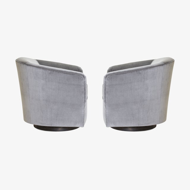 Mid-Century Modern Swivel Tub Chairs in Fog Velvet With Walnut Bases, Pair For Sale - Image 3 of 7