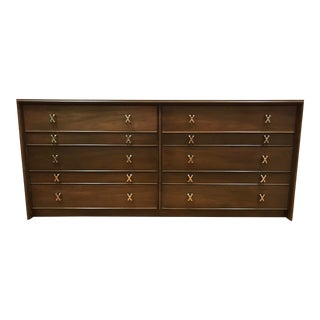 1950s MCM Paul Frankl 10-Drawer X Pull John Stuart Double Chest Dresser Walnut Finish For Sale